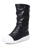 Women's Boots Patchwork Low Heel Fashion Boots/Round Toe Boots Office & Career/Casual Boots Black/White