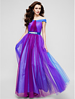 TS Couture Formal Evening Dress - Multi-color A-line Off-the-shoulder Floor-length Tulle