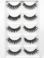 5 Pairs Thick Black False Eyelashes Clear Strip Lash Mink Lashes Part Event High Quality Wedding Makeup