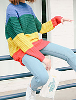 Women's Striped  Patchwork Multi-color Pullover , Casual  Print Long Sleeve