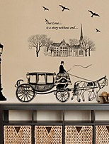 Vintage Europea Style Black Carriage PVC Wall Sticker Wall Decals