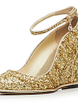 Women's Shoes Glitter / Customized Materials Wedge Heel Pointed Toe Heels Party & Evening / Dress Blue / Gold