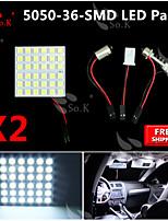 2x blanco 5050 llevó 36 smd panel de mapa cúpula de luz interior + adaptador del adorno T10 BA9S