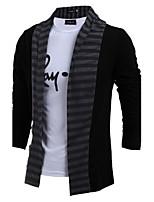 Hot SaleMen's Casual/Daily Simple Regular CardiganColor Block Black / Gray Shirt Collar Long Sleeve Cotton Fall / Winter Medium Micro-elastic
