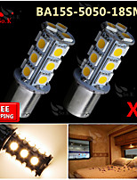 2x Warm White Ba15s 1156 RV Reverse 18 LED SMD Car Rear Turn Light Signal Bulbs