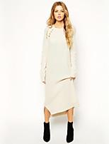 Women's Solid Beige Dress , Sexy Long Sleeve