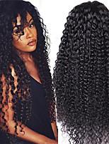 бесклеевой вьющиеся фронта шнурка человеческие волосы парик девственной человеческие волосы 26inch бесклеевой передний парик шнурка для