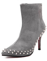 Scarpe Donna - Stivali - Tempo libero - Comoda - A stiletto - Finta pelle - Nero / Grigio