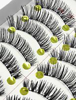 10 Pairs High Quality Natural Black False Eyelashes Fake Lashes Individual Lash Luster Curl Cotton Strip Lash