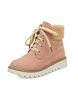 Women's Shoes Suede Low Heel Round Toe / Closed Toe Boots Office & Career / Dress / Casual Blue / Pink