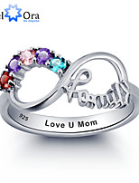 Noble Personalized Infinity Family Ring Colorful Cubic Zirconia 925 Sterling Silver Ring For Women
