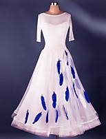 Dança de Salão Vestidos Treino Elastano / Organza Pano / Renda 1 Peça Meia manga Alto Vestidos S-XXL: 120-130cm