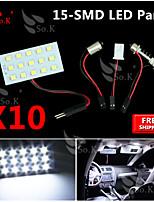 10X Super White 3528 SMD 15 LED Panel Festoon T10 BA9S RV Interior Dome Map LED Light