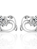 u™ Women's Leisure/Party Dolphins Diamonds 925 Silver Plated Earrings