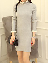 Women's Color Block Pink / Red / Black / Gray / Yellow Dress , Work / Casual / Day Long Sleeve