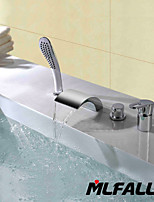 Mlfalls New Arrival Deck Mount Four Holes Widespread Bathtub Waterfall Faucet with Hand Shower