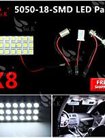 8x blanco 5050 llevó 18 smd panel de mapa cúpula de luz interior + adaptador del adorno T10 BA9S