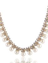 Femme Collier court /Ras-du-cou Forme Géométrique Imitation de perle Imitation Diamant Alliage Basique Bijoux PourMariage Soirée