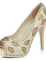 Women's Wedding Shoes Heels / Peep Toe Sandals Wedding / Dress Silver / Gold