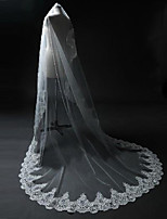 Wedding Veil One-tier Blusher Veils / Chapel Veils / Cathedral Veils Vintage Lace Applique Edge / Scalloped Edge