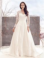 Lan Ting A-line Wedding Dress - Ivory Chapel Train V-neck Lace / Satin