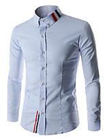 Men's Long Sleeve Shirt , Cotton Casual / Work / Formal Pure