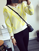 Women's Plaid Pink / Yellow Pullover , Casual Long Sleeve