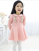 Girl's Spring / Fall Cotton Sequin Long Sleeveed Lapel Hubble-Bubble Sleeve Princess Dress