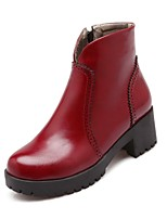 Women's Shoes Leatherette Chunky Heel Heels  / Round Toe Boots Outdoor / Office & Career / Casual Black / Blue / Red