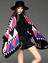 Women's Geometric Multi-color Shrug , Casual / Day Long Sleeve