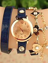Женские Модные часы Часы-браслет Кварцевый Кожа Позолоченное розовым золотом Группа Цветы Черный Синий Красный