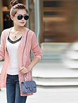 Women's Solid Pink / Yellow / Beige Cardigan , Casual Long Sleeve