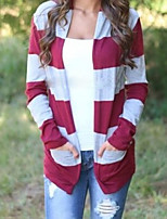 Women's Striped Blue / Red Cardigan , Casual Long Sleeve
