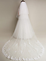 Two-tier - Lace Applique Edge - Angel cut/Waterfall - Blusher Veils / Chapel Veils / Cathedral Veils ( White / Ivory , Applique )