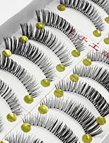10 Pairs Soft Natural Black False Eyelashes Fake Lashes Individual Lash Luster Cross Curl Clear Strip