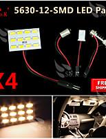 4X  Warm White 5630 12 SMD Panel Map Dome Interior Light+ Festoon T10 BA9S Adapter