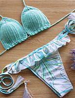 Bikini Da donna Monocolore / Fantasia floreale Push-up All'americana Poliestere