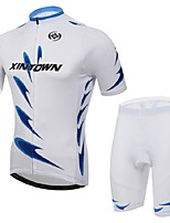 Men's Short Sleeve Cycling Clothing Sets/Suits Pants Breathable / Ultraviolet Resistant /Moisture White