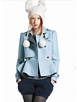 Women's Solid Blue Blazer , Casual Notch Lapel Long Sleeve