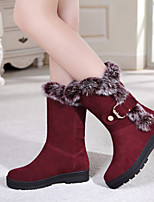 Women's Shoes Leatherette Low Heel Snow Boots / Round Toe Boots Outdoor / Office & Career / Casual Black / Burgundy