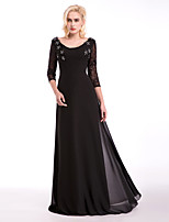 Formal Evening Dress - Black A-line Scoop Floor-length Chiffon / Lace / Stretch Satin