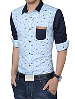 Men's Fashion Printing Stitching Slim Fit Long-Sleeve Shirt