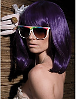 Middle Length Hair European Weave Purple Color Hair Wig