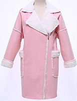 Women's Solid Pink / Brown / Silver Coat , Casual Long Sleeve Polyester