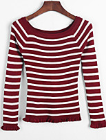 Women's Striped Blue  Red  White  Black  Gray Shrug , Sexy  Casual Long Sleeve