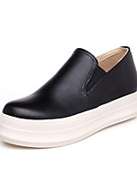 Women's Shoes Leatherette Flat Heel Round Toe Loafers Casual Black / White