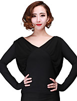 Latin Dance Women's Performance Tulle Netting Milk Fiber 1 Piece Long Sleeve Tops