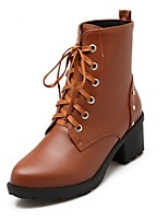 Women's Shoes Leatherette Chunky Heel Heels  / Round Toe Boots Outdoor / Office & Career / Casual Black / Brown / Beige