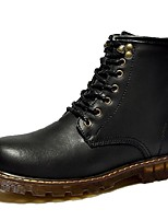 Women's Shoes Leather Flat Heel Cowboy / Western Boots / Snow Boots Boots Outdoor / Work & Duty / Casual Black