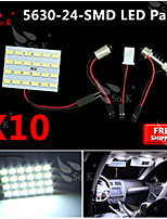 10X  White 5630 24 SMD Panel Map Dome Interior Light+ Festoon T10 BA9S Adapter